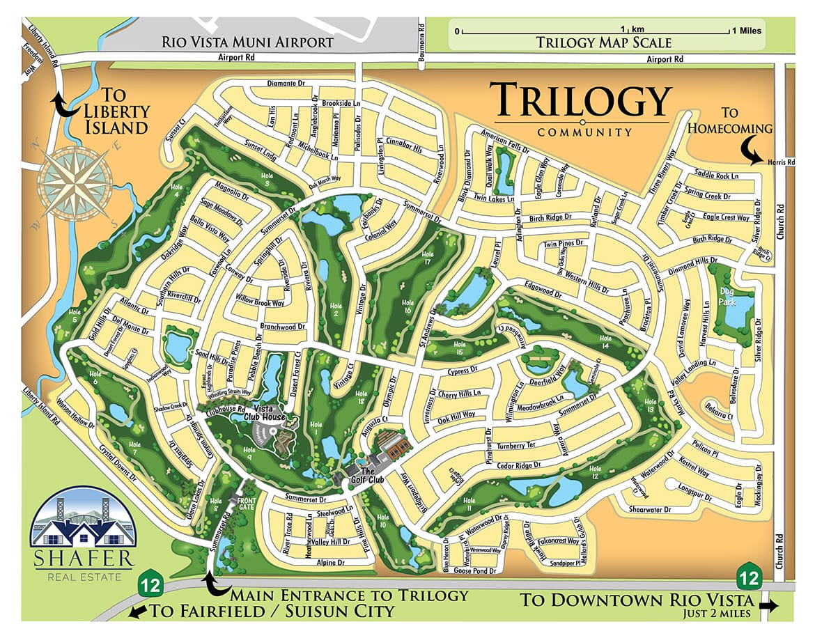 Map of Trilogy in Rio Vista for Shafer Real Estate